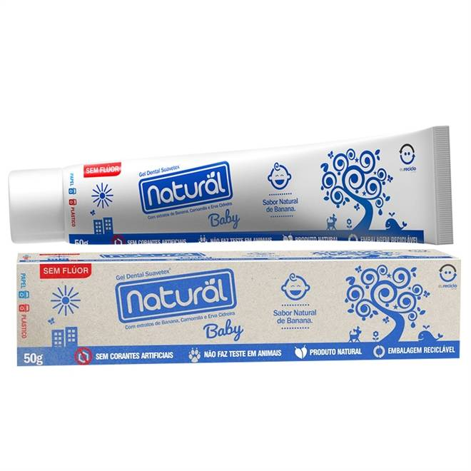 Gel Dental Natural Baby Sem Flúor (Sabor Natural de Banana - 50g) - Tito Farma