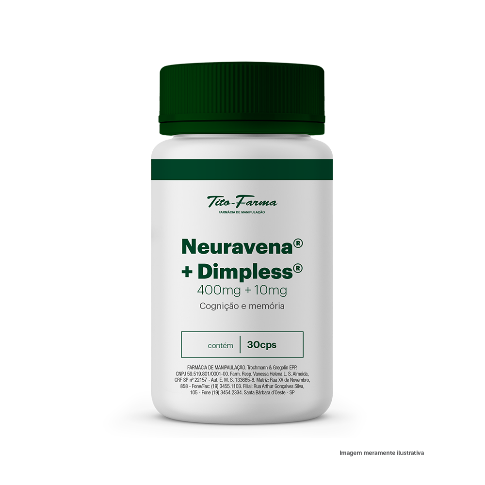 Neuravena 400mg + Dimpless 10mg - Cognição e Memória (30 Cps) - Tito Farma