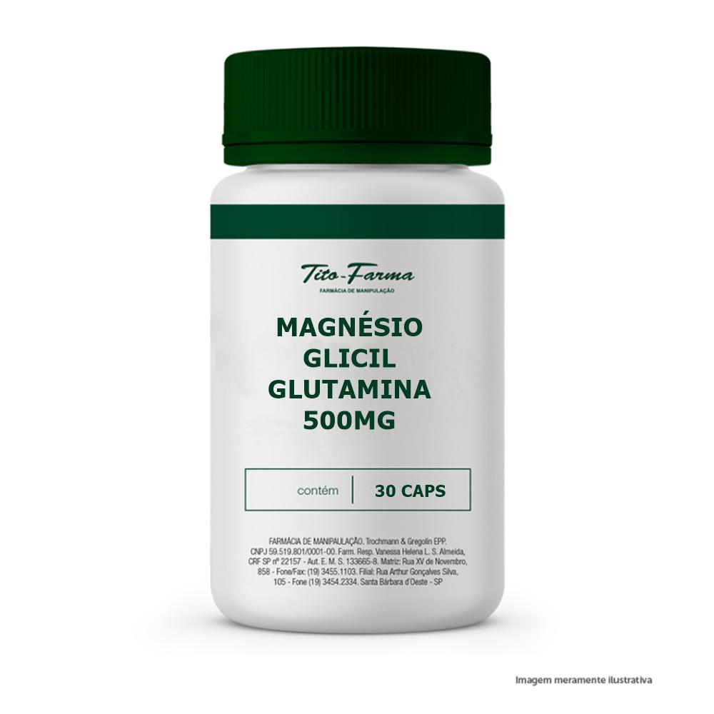 Magnésio Glicil Glutamina - 500mg- 30 Cps - Tito Farma