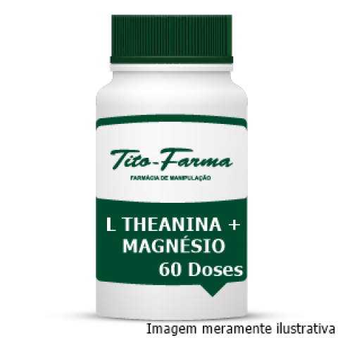 L Theanina + Magnésio Glicina - Relaxamento, Combate a Ansiedade e TPM (60 Doses) - Tito Farma