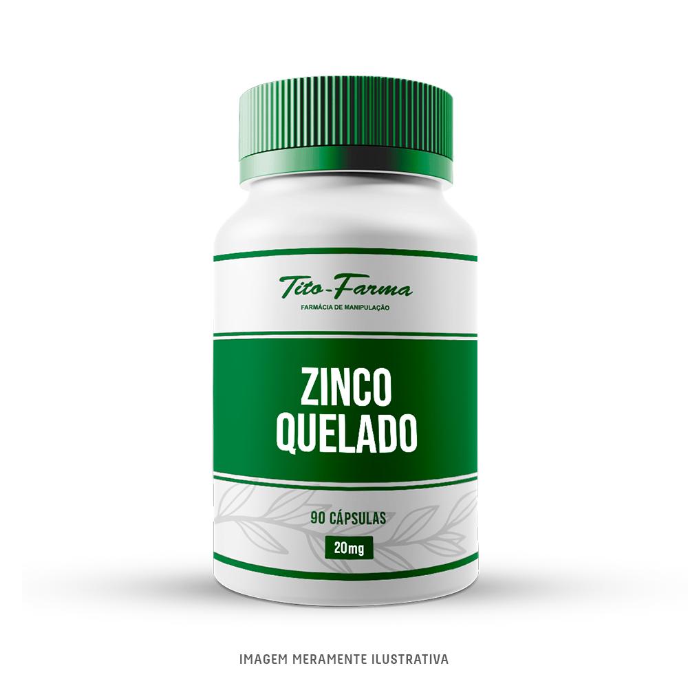 Zinco Quelado - Saúde da Pele, do Sistema Imunológico e Funcionamento do Fígado (20mg - 90 Cps) - Tito Farma