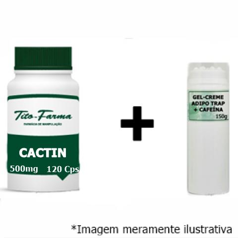 Kit Para Combate a Celulite: Cactin 500mg - 120 Cps & Gel-Creme Adipo Trap + Cafeína - 150g - Tito Farma