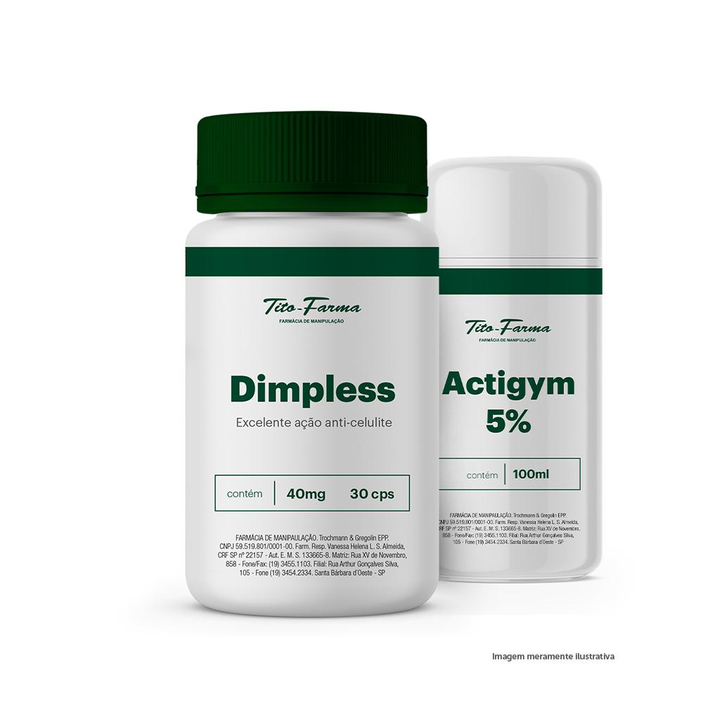Kit Para Combate a Celulite e Queima de Gordura: Dimpless 40mg - 30 Cps + Actigym 5% - 100mL - Tito Farma