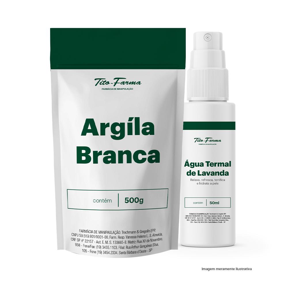 Kit Para Acalmar, Hidratar e Tonificar a Pele: Argila Branca 500g + Água Termal - 50mL - Tito Farma
