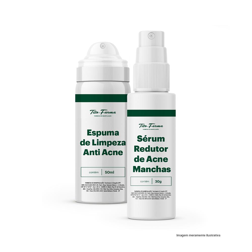 Kit Para Prevenir Acne: Espuma de Limpeza Anti Acne - 50mL + Sérum Redutor de Acne e Manchas - 30g - Tito Farma
