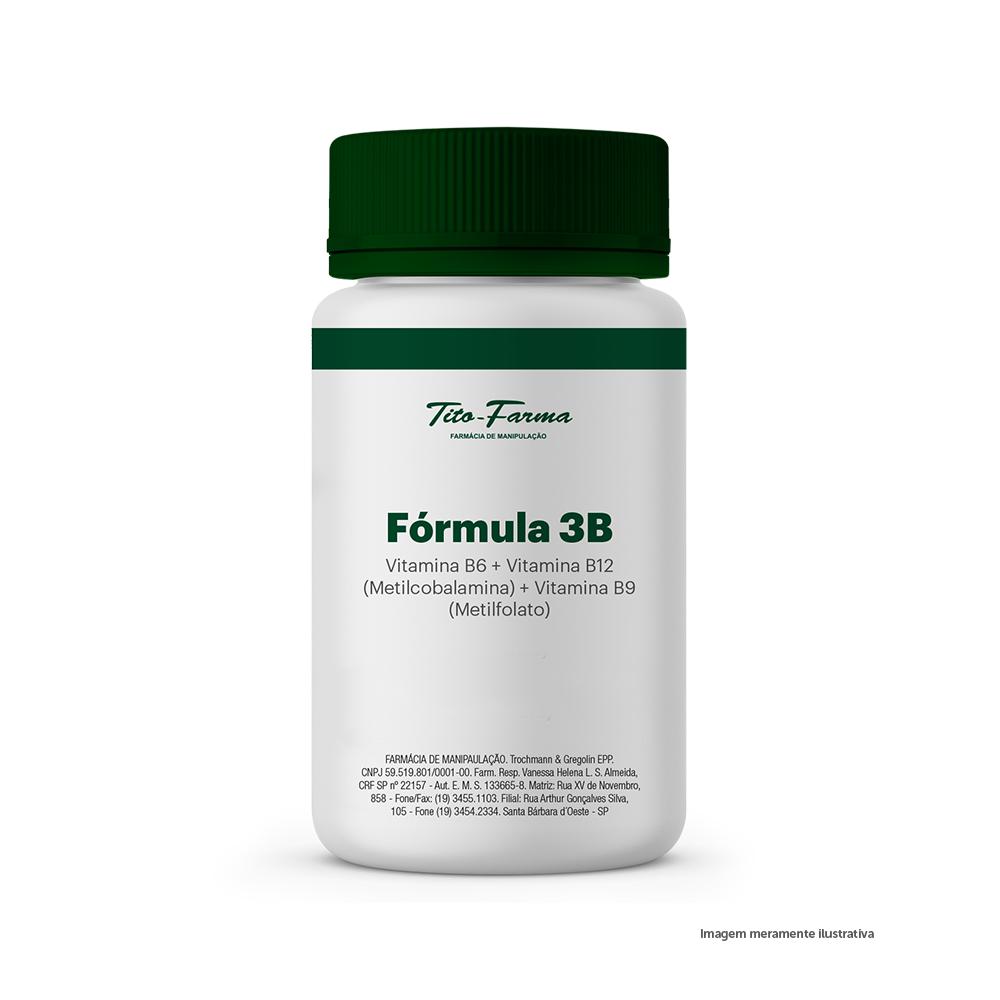 Fórmula 3B - Vitamina B6 + Vitamina B12 (Metilcobalamina) + Vitamina B9 (Metilfolato) - Tito Farma