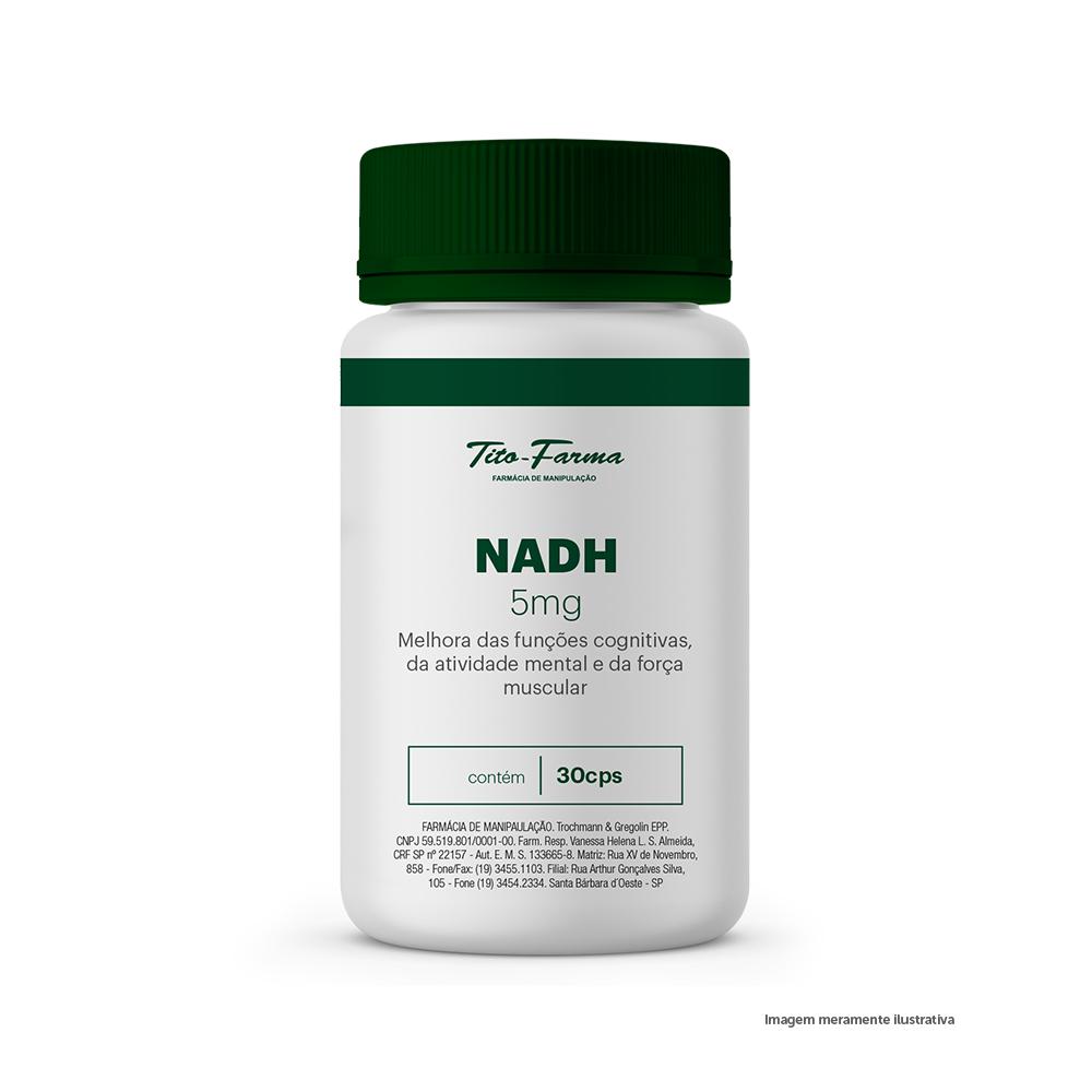 NADH - Melhora das Funções Cognitivas, da Atividade Mental e da Força Muscular (5mg - 30 Cps) - Tito Farma