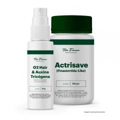 Kit Mais Fios Homem com: O2 Hair & Auxina Tricógena - 60g + Actrisave - 30 Cps