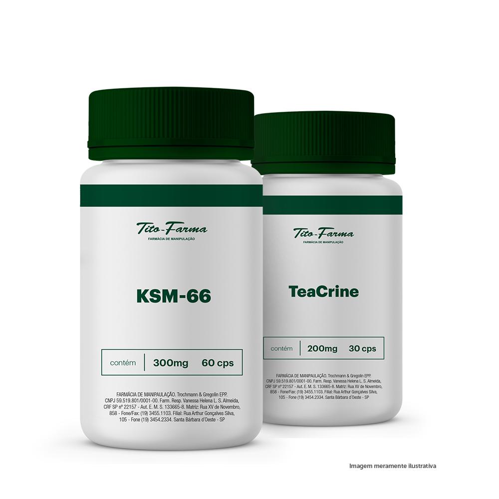 Kit Para Potencializar o Treino: KSM-66 300mg - 60 Cps + TeaCrine 200mg - 30 Cps - Tito Farma