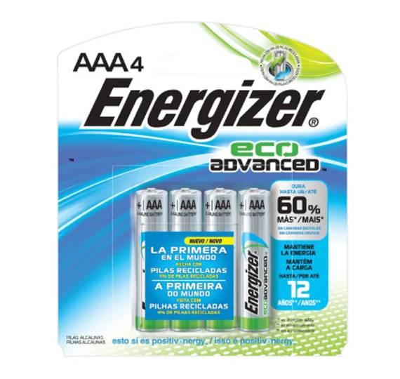 Pilha AAA Alcalina Eco Advanced ENERGIZER Blister c/ 4un. - Casa da Pilha