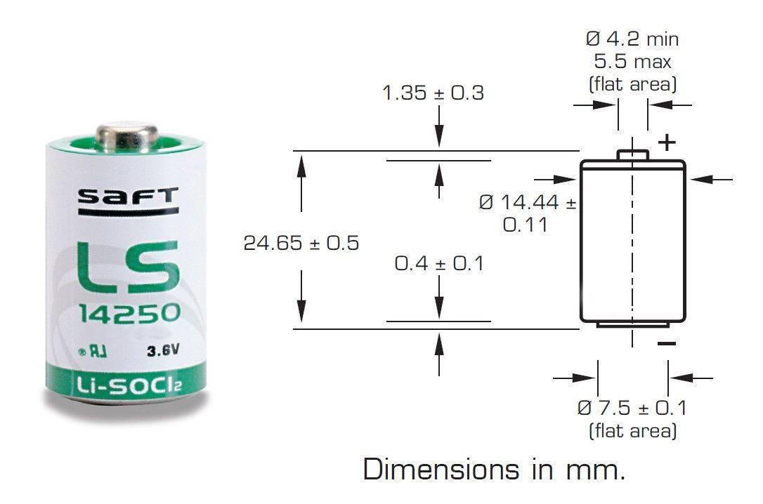 Bateria 3,6V LS14250 (1/2AA) Lithium SAFT s/ Terminal - Casa da Pilha