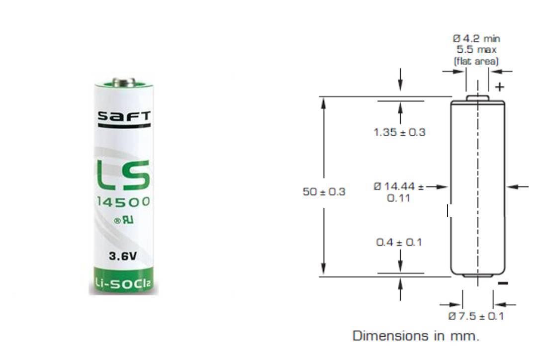Bateria 3,6V LS14500 (AA) Lithium SAFT s/ Terminal - Casa da Pilha