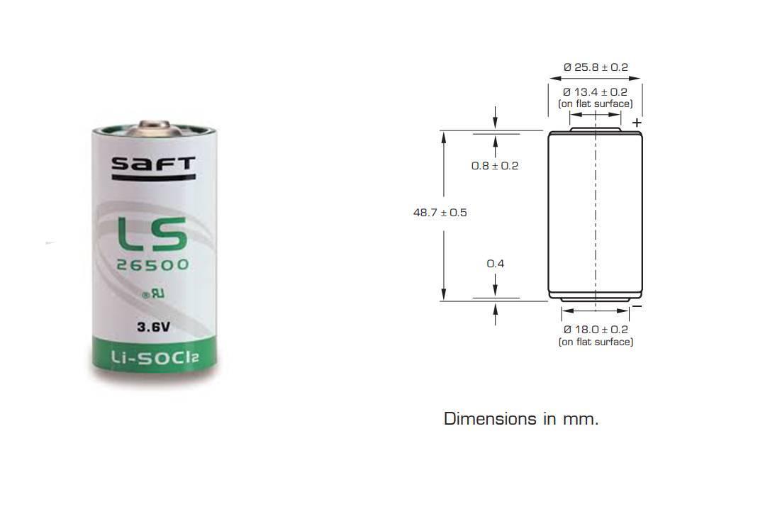 Bateria 3,6V LS26500 (Tipo C) Lithium SAFT s/ Terminal - Casa da Pilha