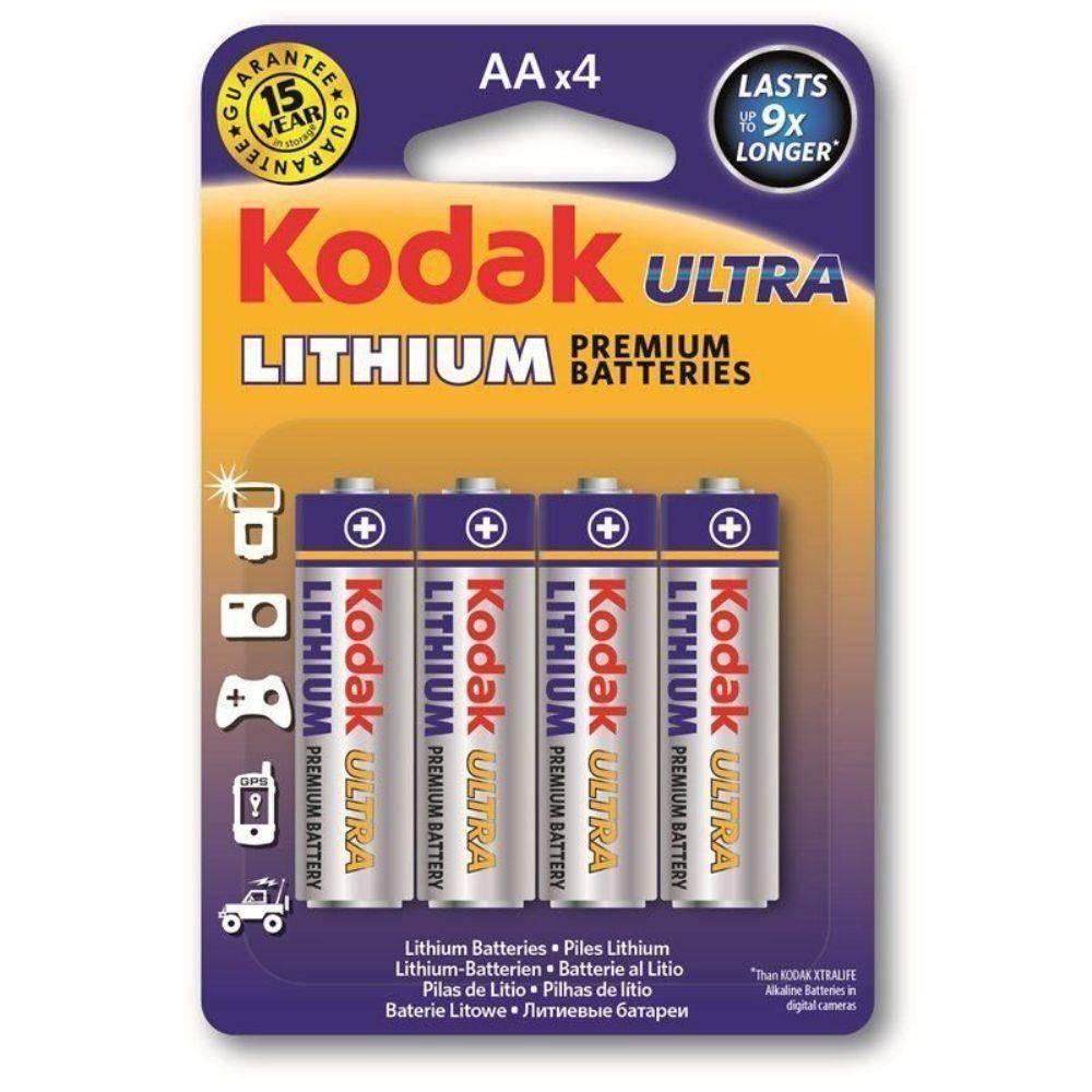 Pilha AA Lithium KODAK ULTRA Blister c/ 4un. - Casa da Pilha