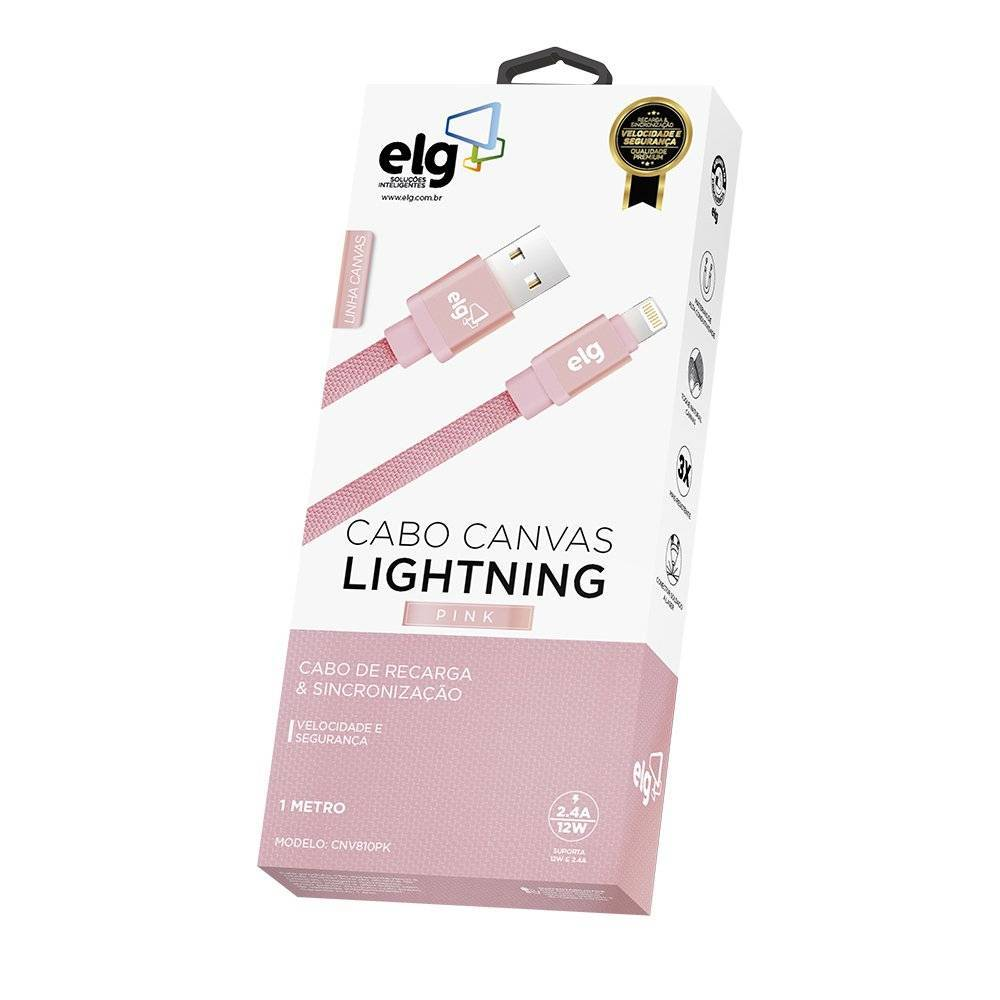 Cabo Lightning USB p/ Iphone 5/6/7/+ 1M. Canvas CNV810PK ELG - Casa da Pilha