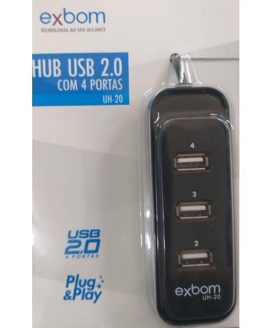 HUB USB 2.0 4 Portas UH-20 EXBOM  - Casa da Pilha