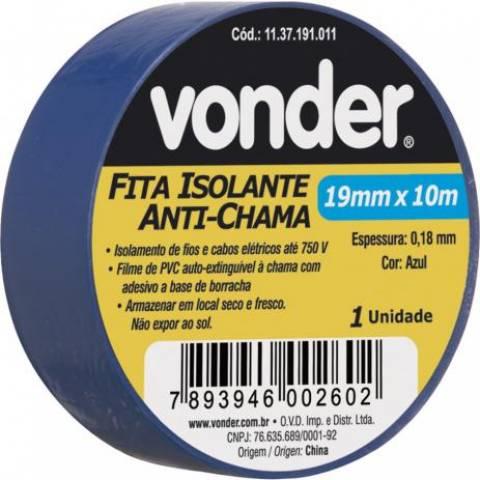 Fita Isolante Antichama 19mm x 10m VONDER - Casa da Pilha