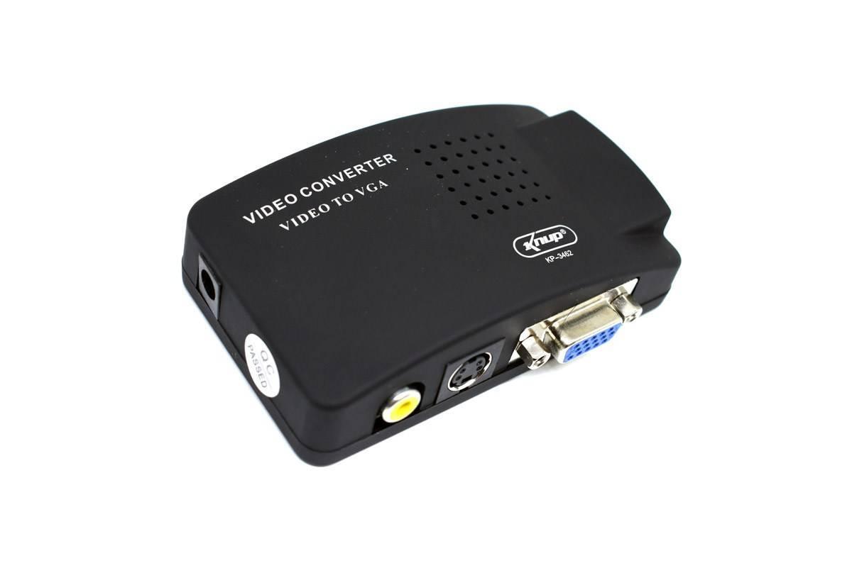 Conversor de Vídeo AV x VGA 5V KP-3462 KNUP - Casa da Pilha