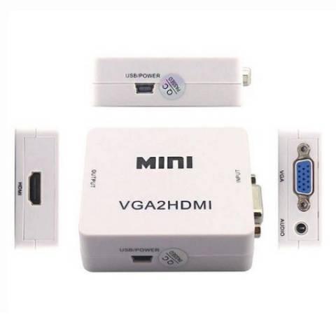 Mini Conversor VGA p/ HDMI Full HD 1080p - Casa da Pilha