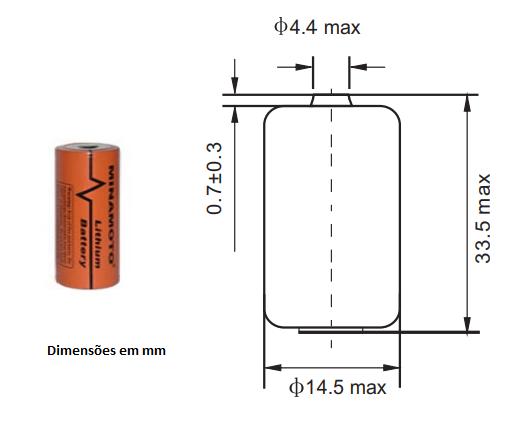 Bateria 3,6V ER14335 2/3AA Lithium MINAMOTO s/ Terminal - Casa da Pilha