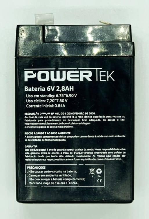 Bateria Selada 6V 2,8Ah VRLA POWERTEK - Casa da Pilha