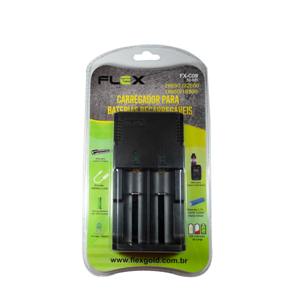 Carregador de Baterias de Lithium Duplo Universal FX-C09 FLEX - Casa da Pilha