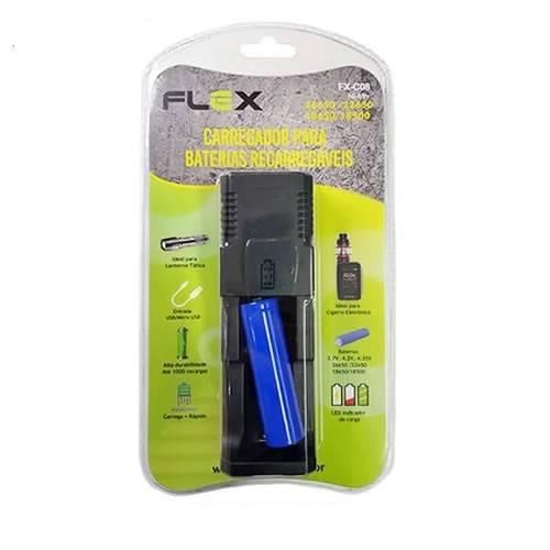 Carregador de Baterias de Lithium Universal + 1 Bateria 18650 FX-C08 FLEX - Casa da Pilha