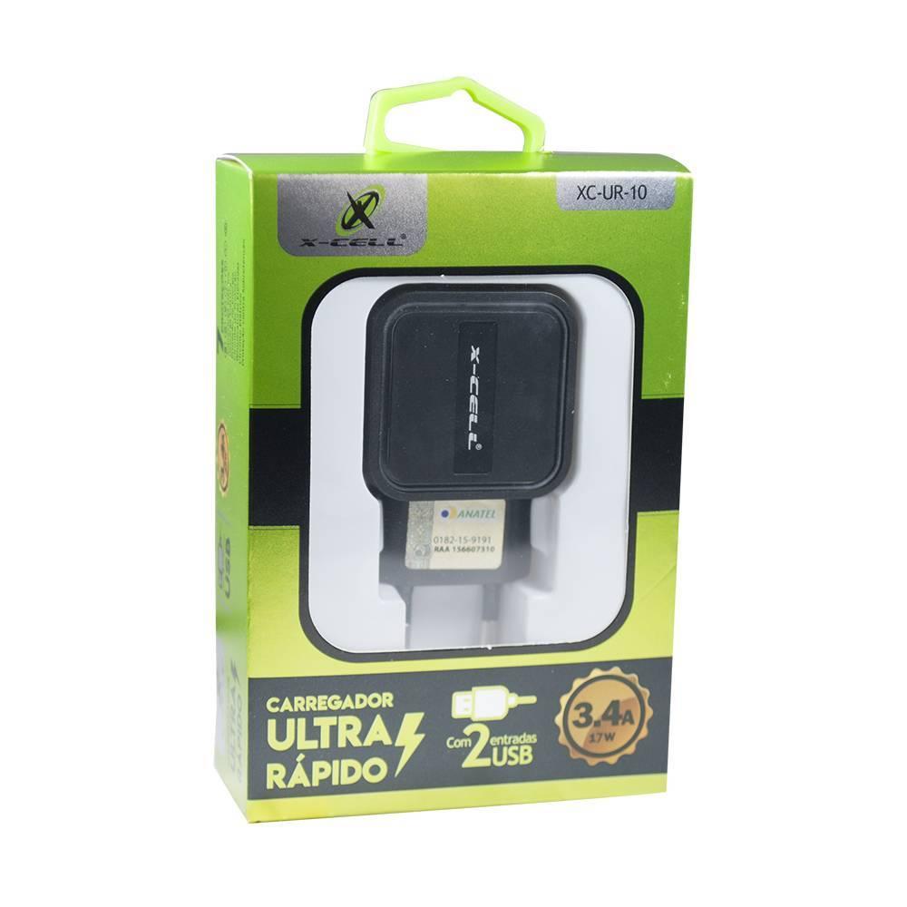 Carregador Ultra Rápido 2 Saídas 3.4Ah 17W XC-UR-10 X-CELL - Casa da Pilha