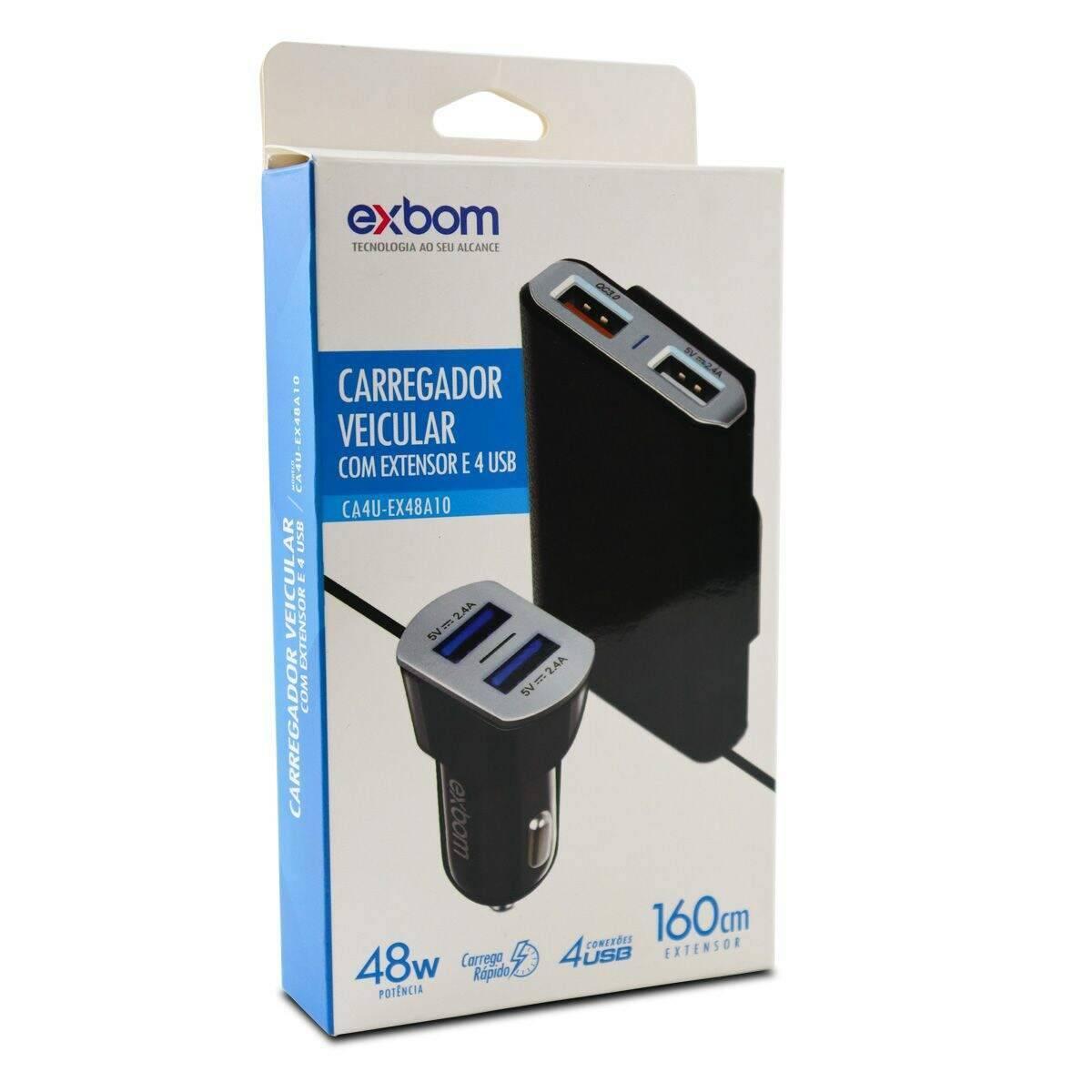 Carregador USB 4 Saídas 48W Veicular com Extensor 1,6M CA4U-EX48A10 Exbom - Casa da Pilha