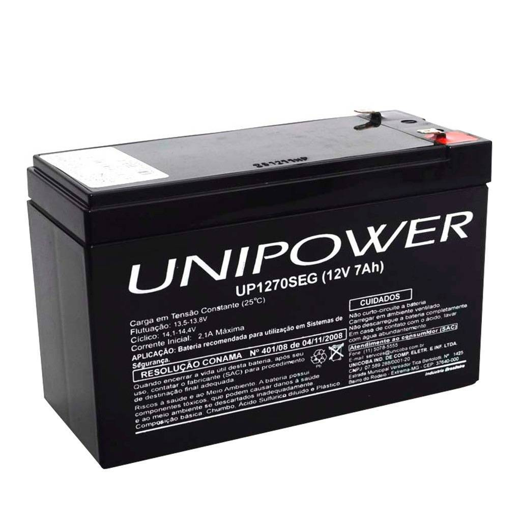 Bateria Selada 12V 7Ah UP1270SEG VRLA UNIPOWER - Casa da Pilha