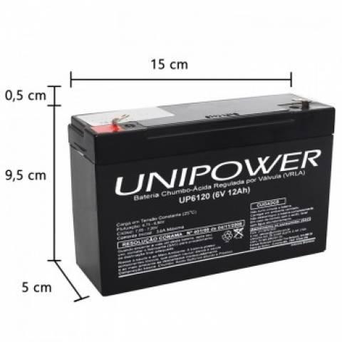 Bateria Selada 6V 12Ah UP6120 VRLA UNIPOWER - Casa da Pilha