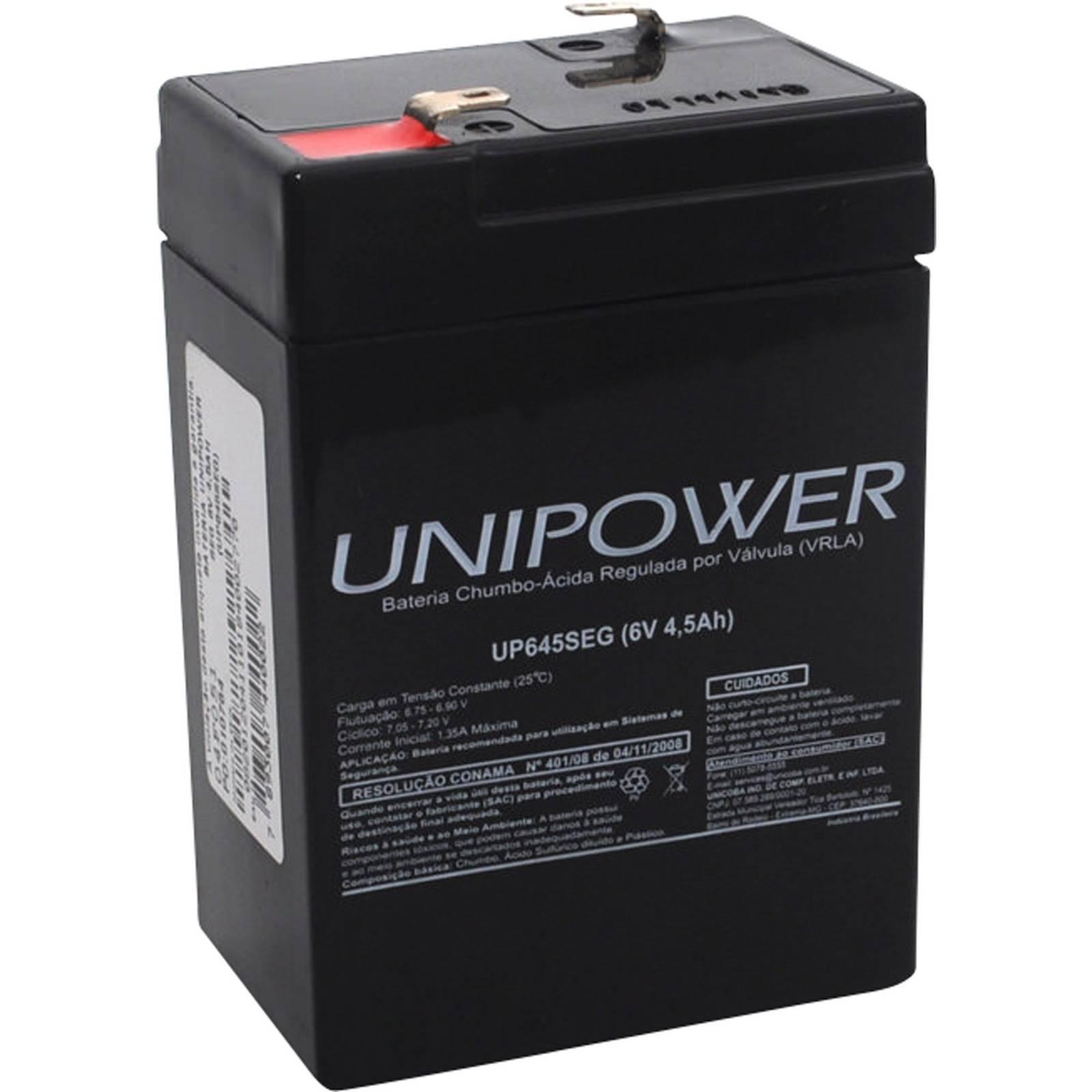 Bateria Selada 6V 4,5Ah UP645 SEG VRLA UNIPOWER - Casa da Pilha