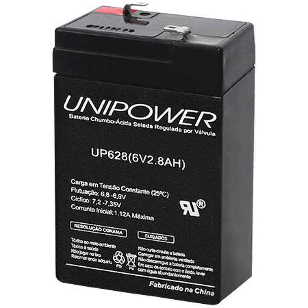 Bateria Selada 6V 2,8Ah UP628 VRLA UNIPOWER - Casa da Pilha