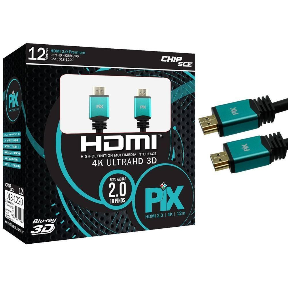 Cabo HDMI 2.0 12m 4k Ultra HD 3D Blindado PIX - Casa da Pilha