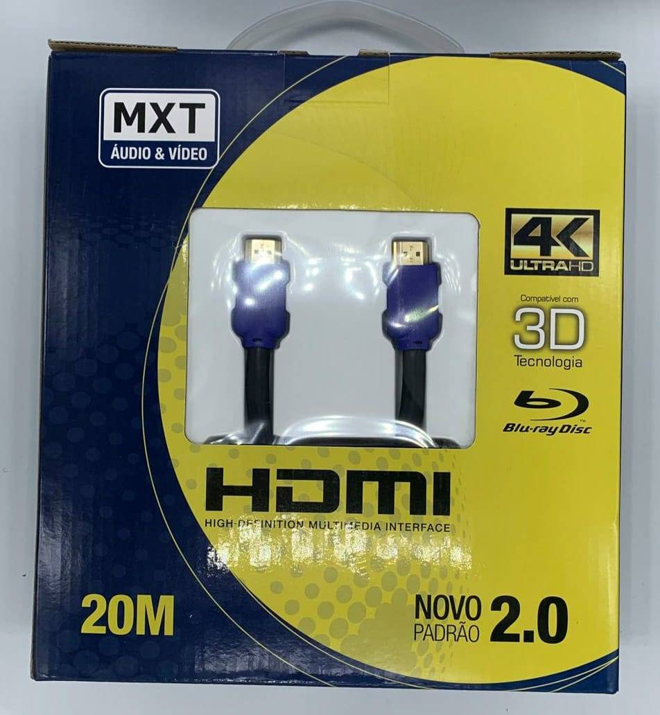Cabo HDMI 2.0 20m 4k Ultra HD 3D MXT - Casa da Pilha