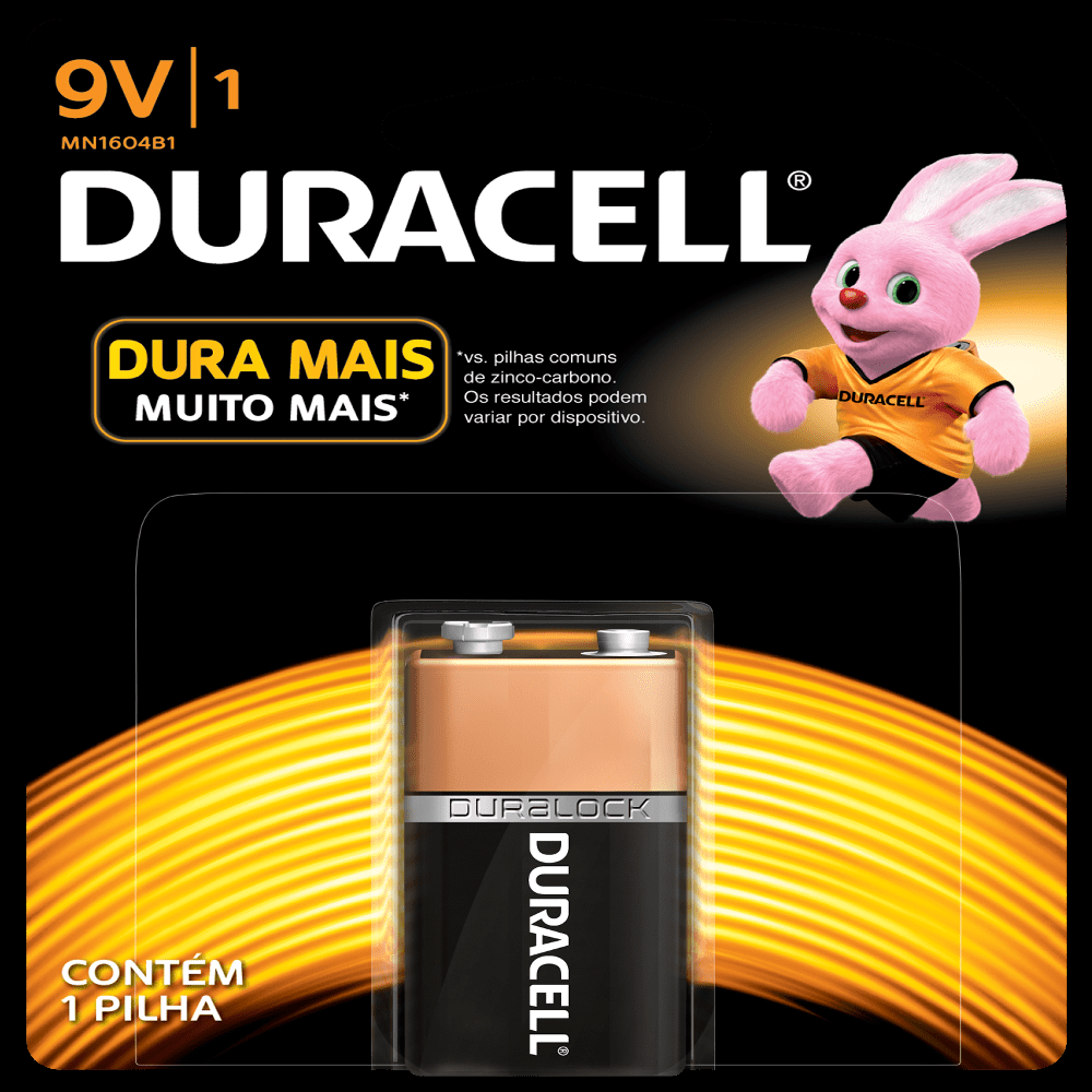 Bateria 9V Alcalina Duracell Blister c/ 1un. - Casa da Pilha