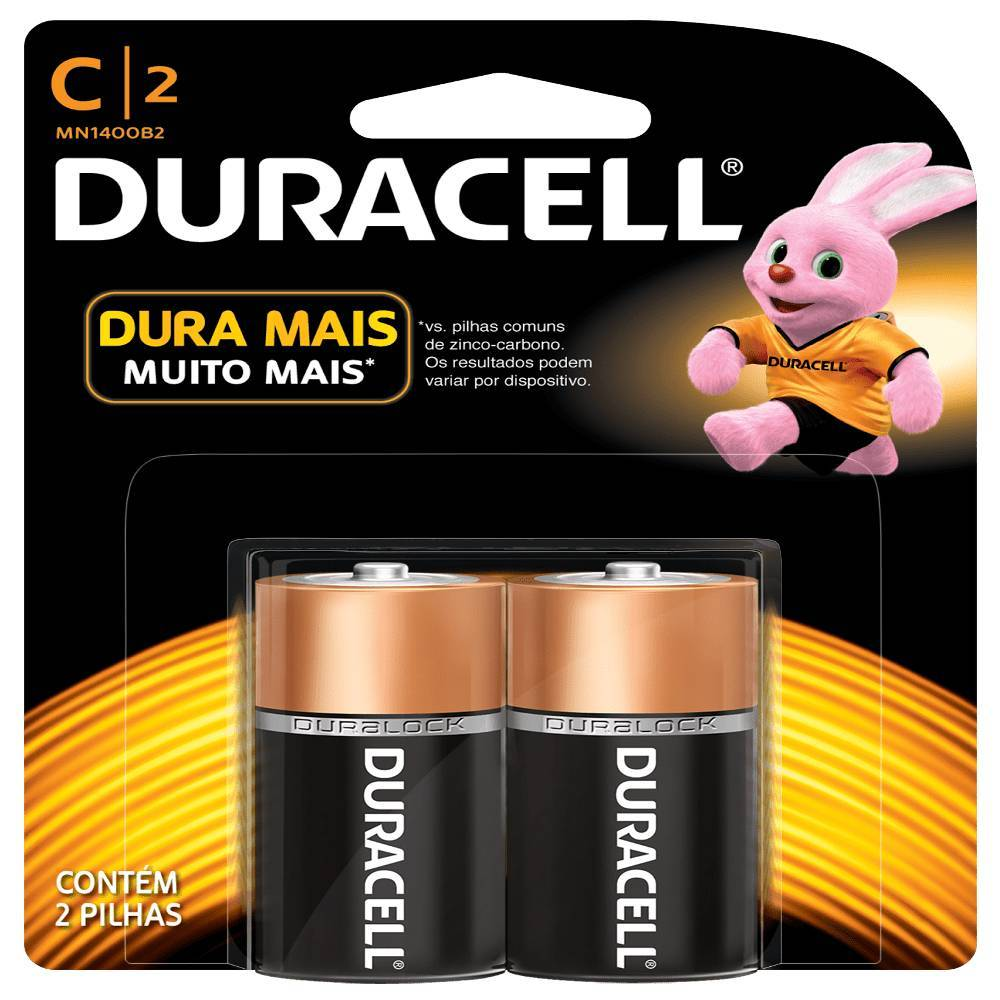 Pilha Tipo C (média) Alcalina Duracell Blister c/ 2un. - Casa da Pilha