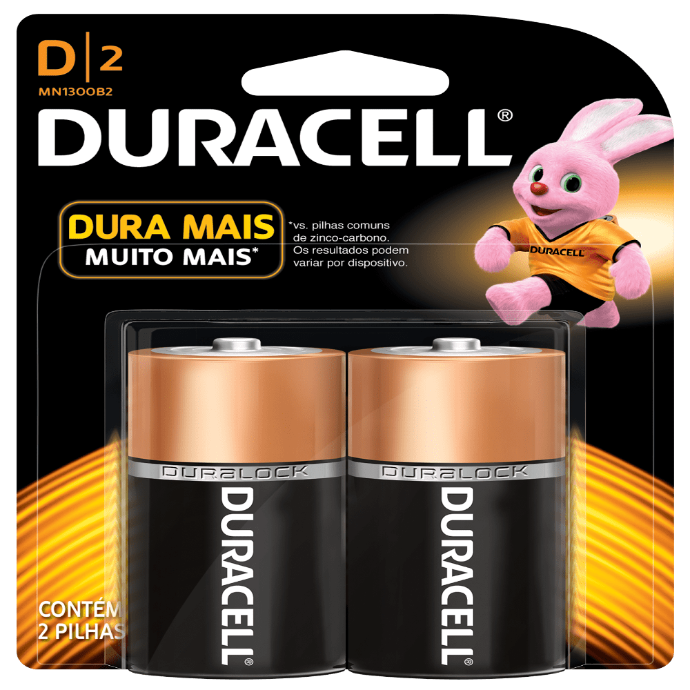 Pilha Tipo D (grande) Alcalina Duracell Blister c/ 2un. - Casa da Pilha