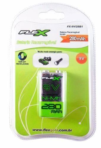 Bateria 9V 280mAh Recarregável Flex Blister c/ 1un. - Casa da Pilha
