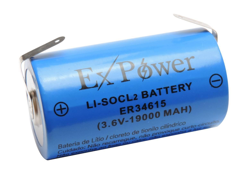 Bateria 3,6V 19000mAh ER34615 LITH EXPOWER  c/ Terminal  - Casa da Pilha