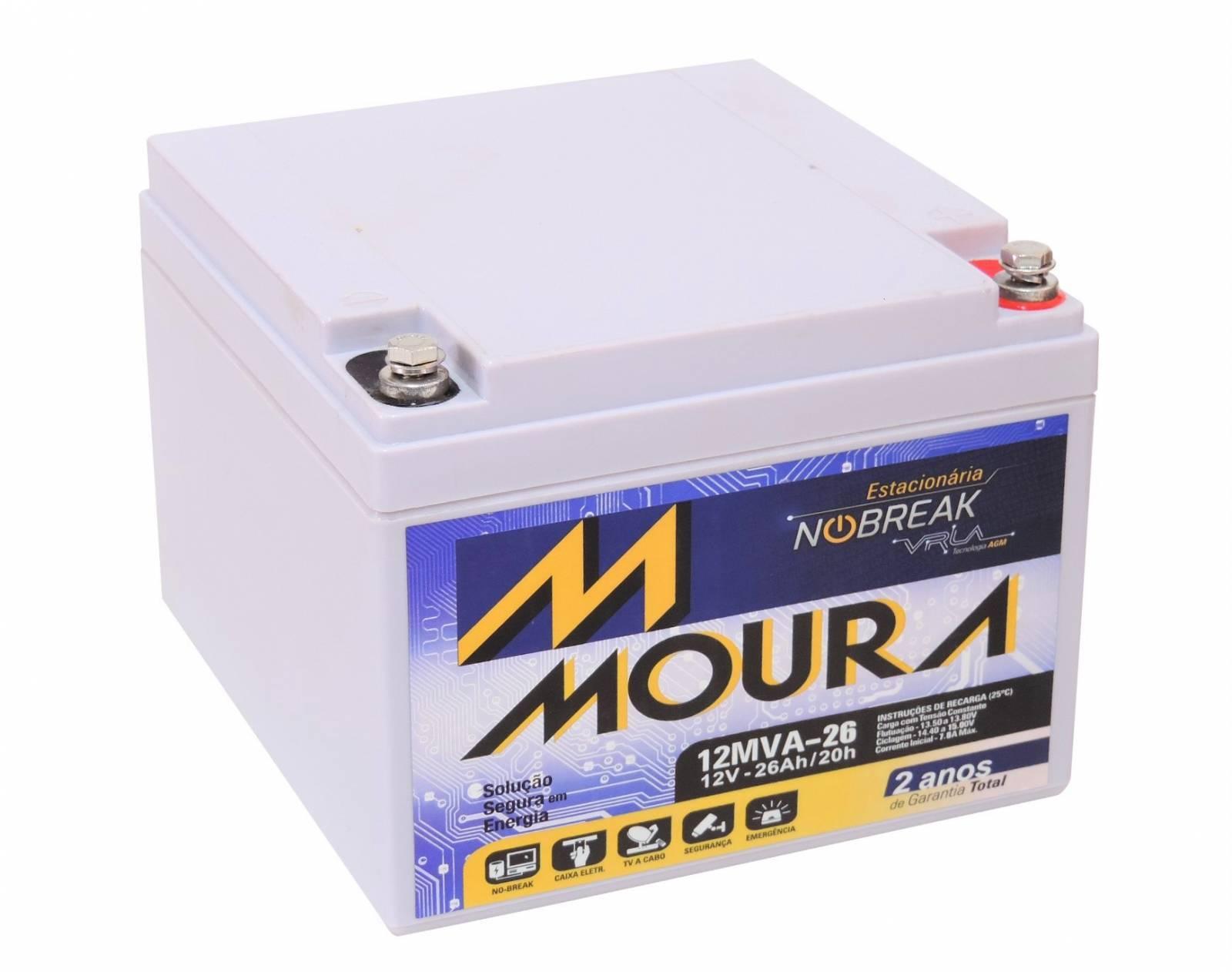 Bateria Selada 12V 26Ah VRLA MOURA - Casa da Pilha