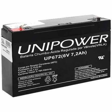 Bateria Selada 6V 7,2Ah UP672 VRLA UNIPOWER - Casa da Pilha
