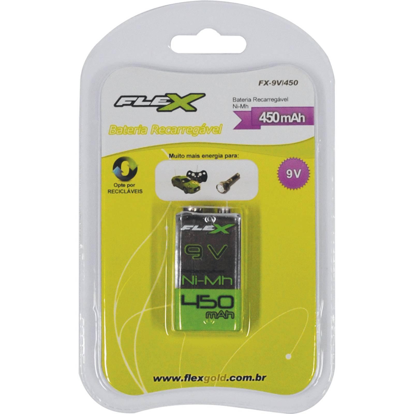 Bateria 9V 450mAh Recarregável Flex Blister c/ 1un. - Casa da Pilha