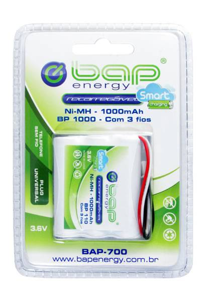 Bateria p/ Telefone s/ Fio 3,6V 1000mAh BP1000 (BAP-700) BAP - Casa da Pilha