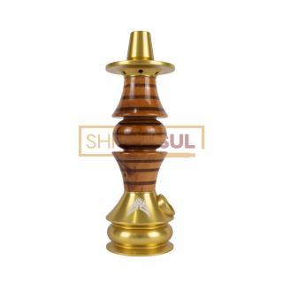 Stem / Narguile Marajah Umbrella Nano Dourado / Marrom Stripes | SHISHA SUL