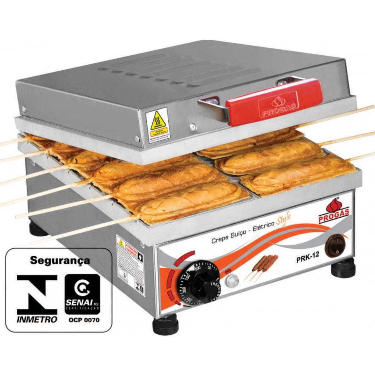 Máquina de Crepe Suíço Elétrica 12 cavidades PRK-12E Progás - Magazine do Chef