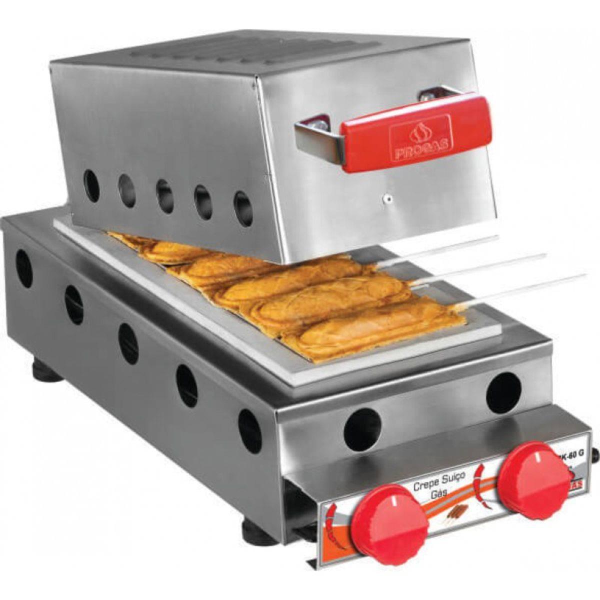 Máquina de Crepe Suíço à Gás 6 cavidades PRK-60G Progás - Magazine do Chef