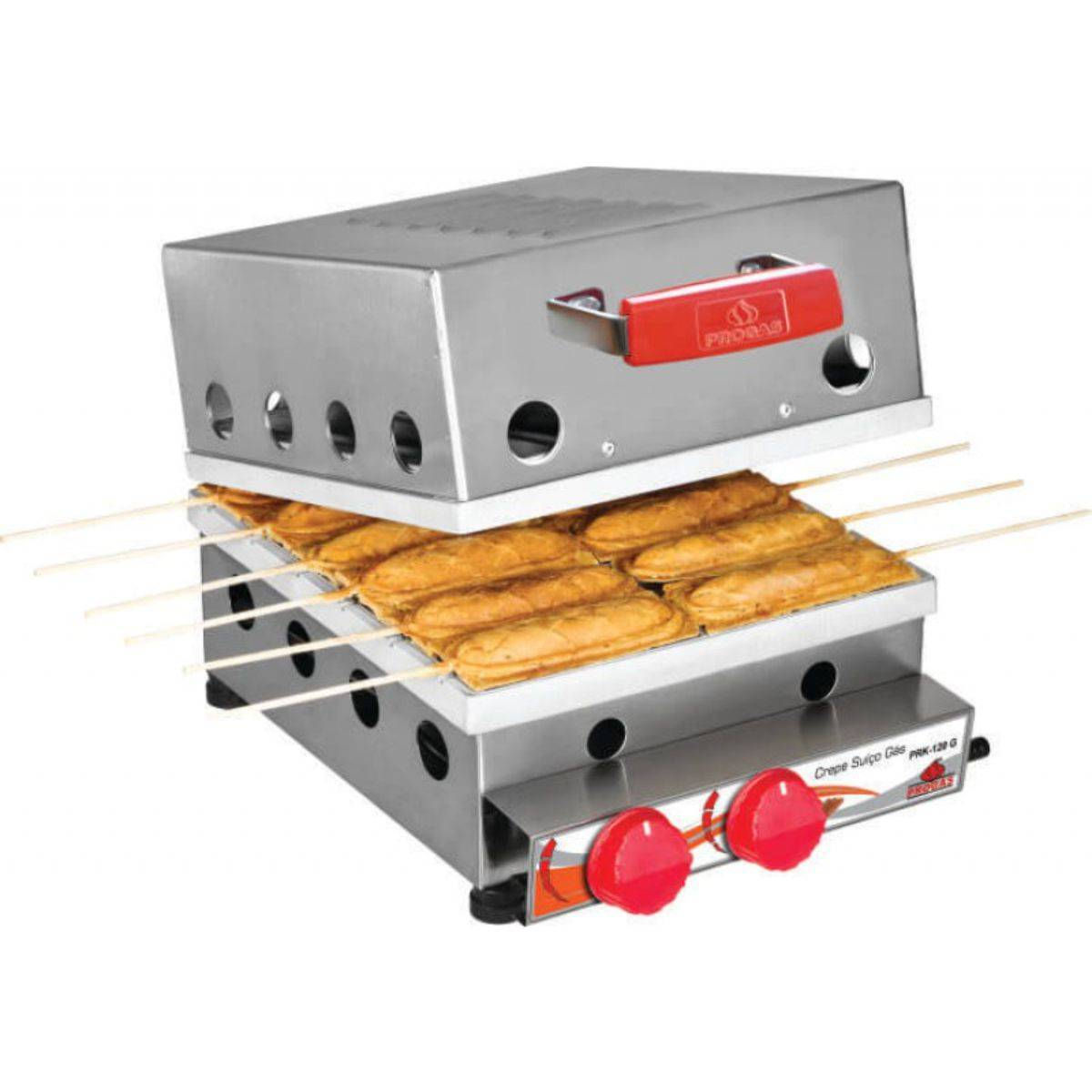 Máquina de Crepe Suíço à Gás 12 cavidades PRK-120 G Progás - Magazine do Chef