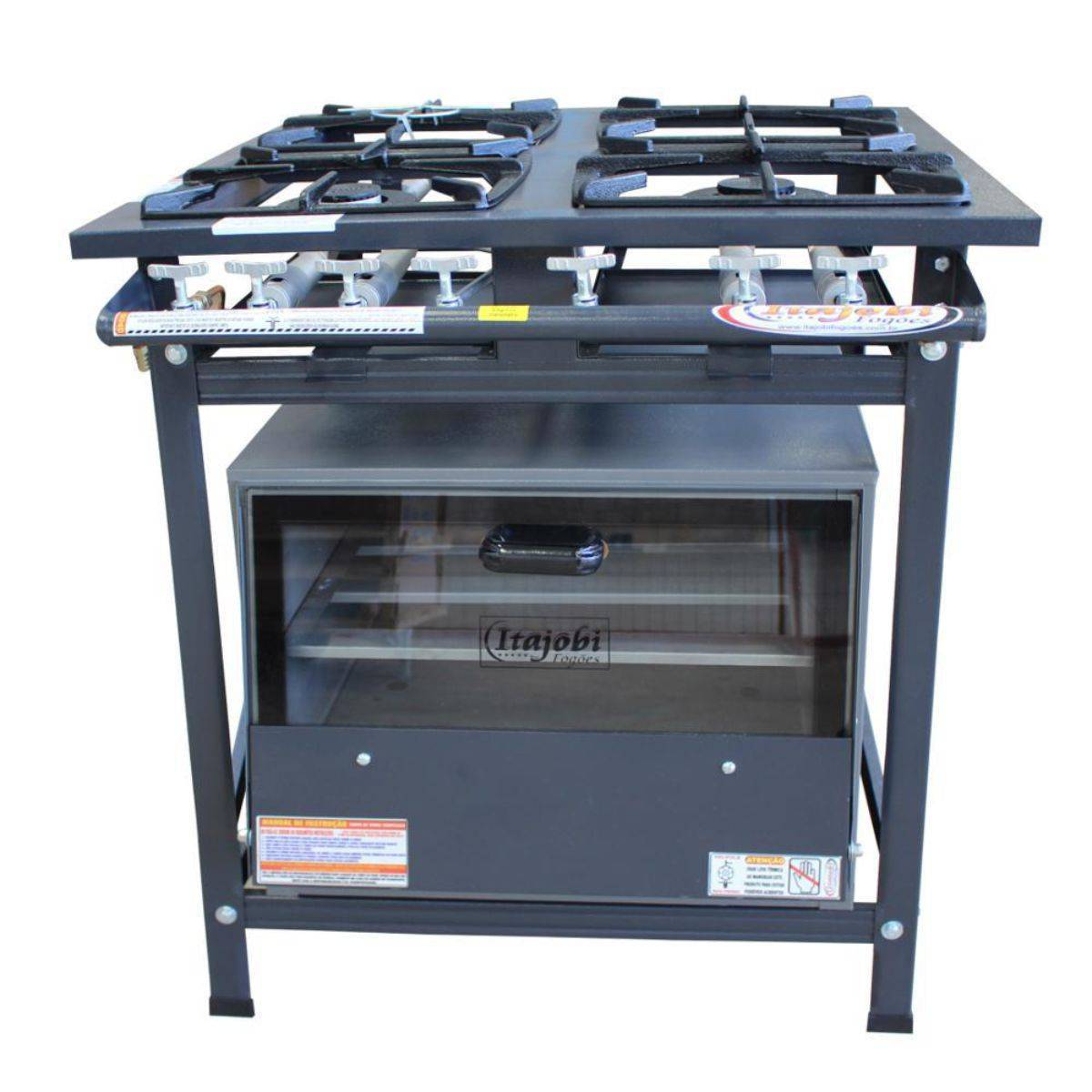 Fogão Industrial 4 Bocas 30x30 com Forno BP Itajobi - Magazine do Chef