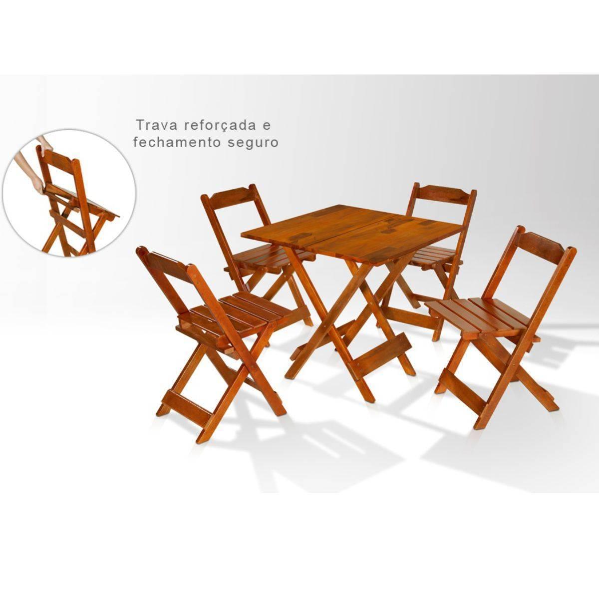 Jogo de Mesa de Madeira Dobrável 70x70 com 4 Cadeiras Maplan - Magazine do Chef